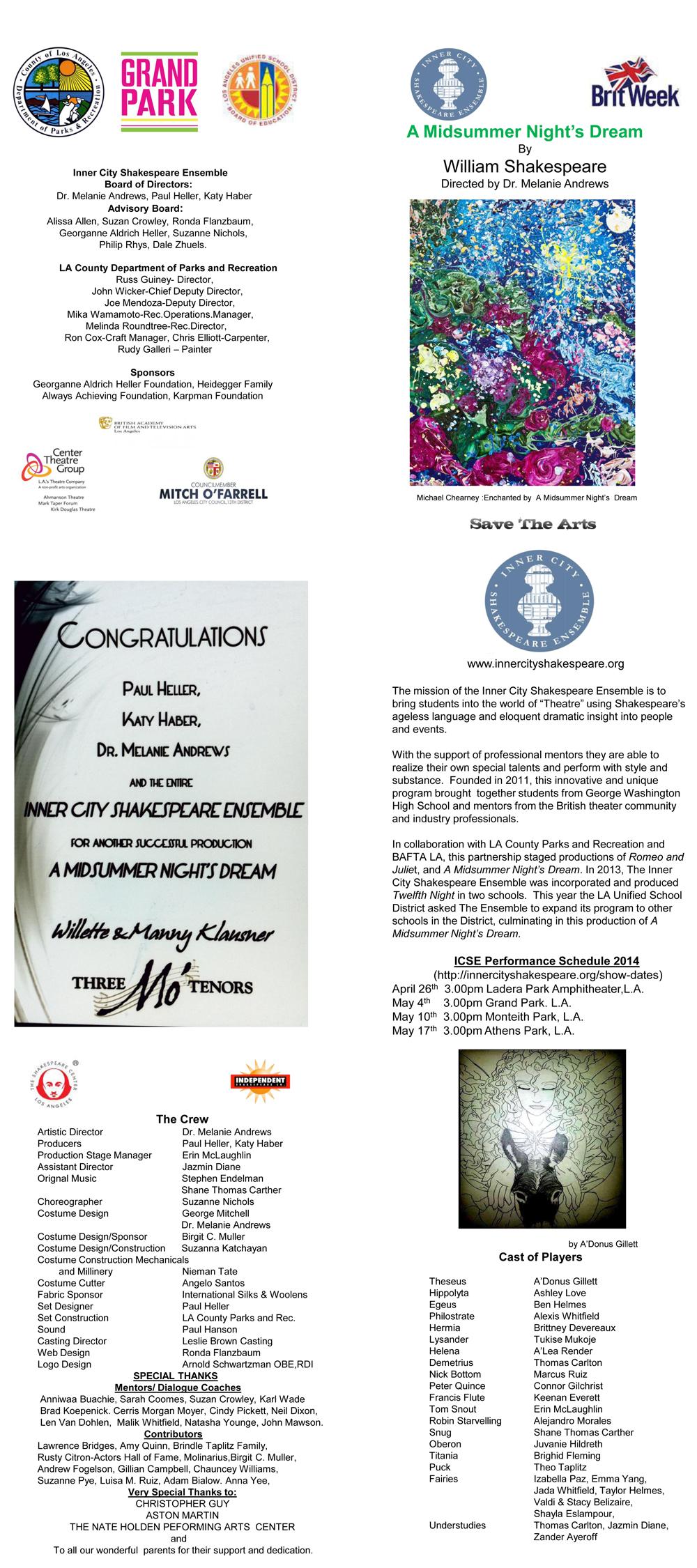 Programme - A Midsummer Night's Dream - 2014
