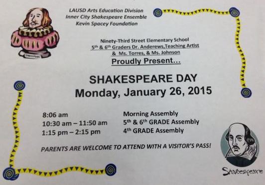 Shakespeare Day  - January 26, 2015