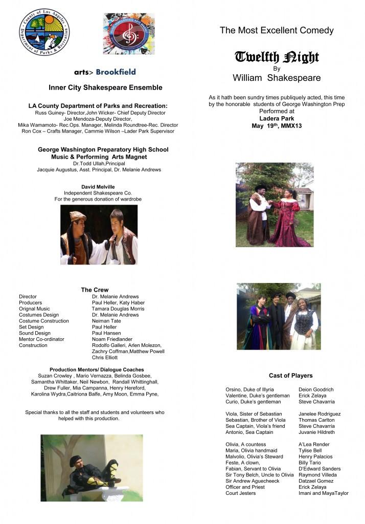 Programme - Twelfth Night - George Washington Prep - 2013