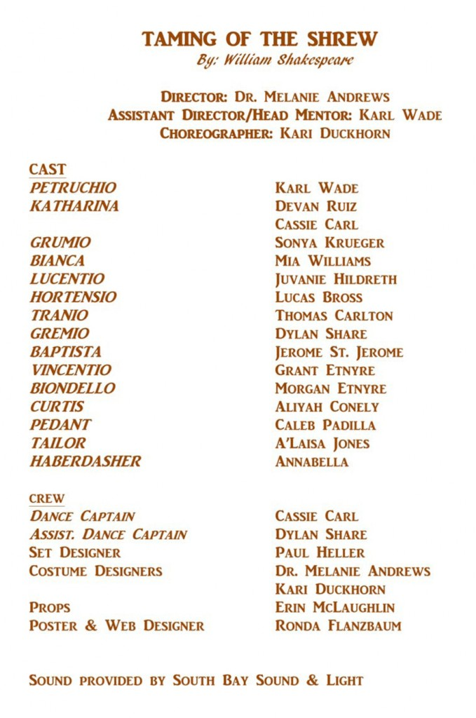 The Taming of The Shrew - cast
