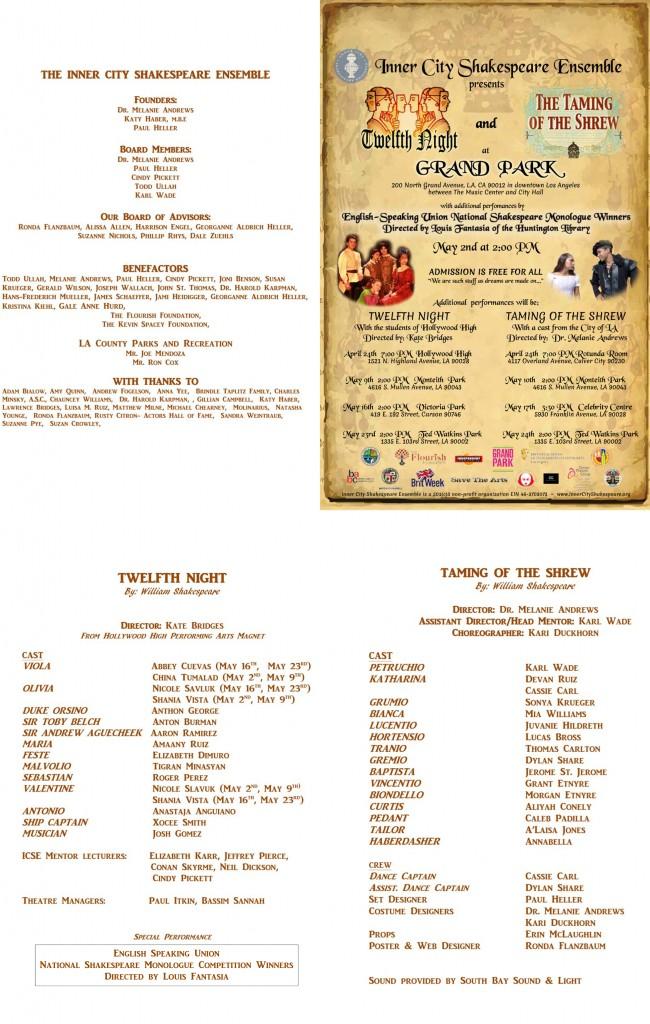 Twelfth Night  &  Taming of the Shrew  - Spring 2015