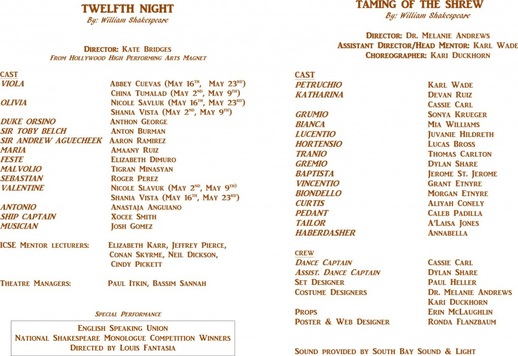 Twelfth Night and The Taming of the Shrew - cast